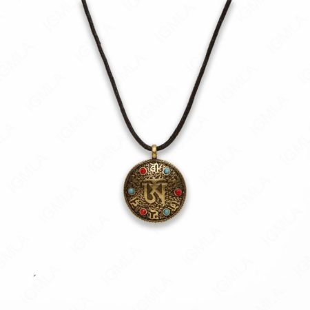 Zinc Alloy Red, Blue Cab Box Gold Burnish Coin Necklace