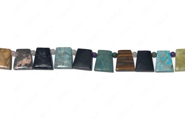 15-16″ 13X18mm Multi Stone Rectangle Plain Beads