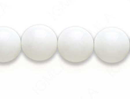 15-16″ 16mm Syn White Agate Round Plain Beads
