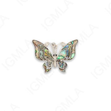 Zinc Alloy With Abalone Rhodium Plated Butterfly Pendants