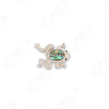 Zinc Alloy With Abalone Rhodium Plated Frog Pendants