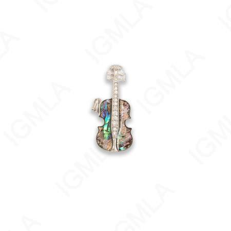Zinc Alloy With Abalone Rhodium Plated Guitar Pendants