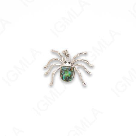Zinc Alloy With Abalone Rhodium Plated Spider Pendants