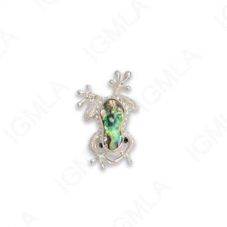 Zinc Alloy With Abalone Rhinestone Rhodium Plated Frog Pendants
