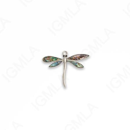 Zinc Alloy With Abalone Rhodium Plated Dragon Fly Pendants