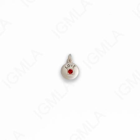 Zinc Alloy Red Rhinestone Silver Plated Love Coin Charm
