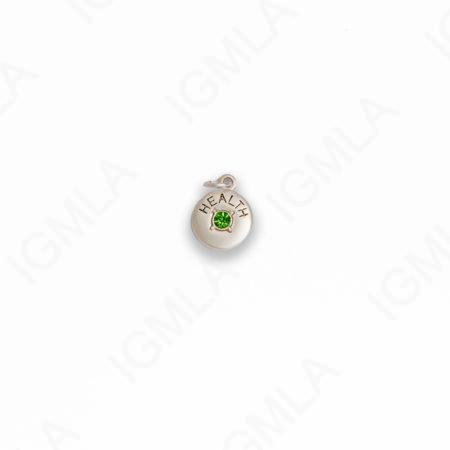 Zinc Alloy Green Rhinestone Silver Plated Health Coin Charm
