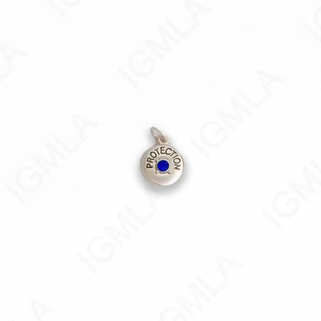 Zinc Alloy Blue Rhinestone Silver Plated Protection Coin Charm