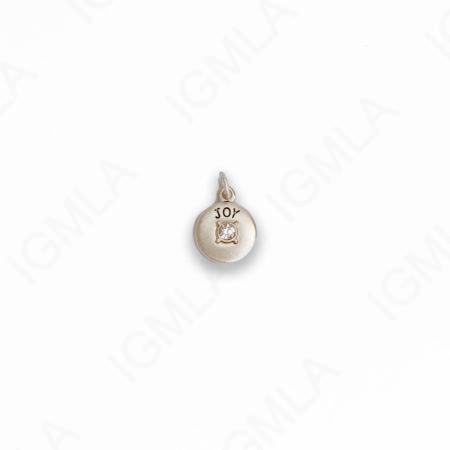 Zinc Alloy Clear Rhinestone Silver Plated Joy Coin Charm