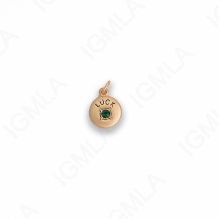Zinc Alloy Dark Green Rhinestone Silver Plated Luck Coin Charm