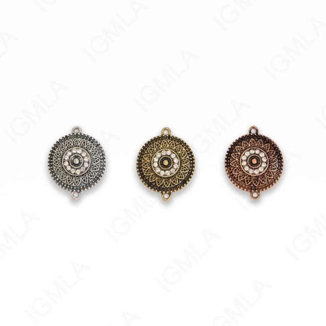 Small Zinc Alloy 2 Hole Gold, Silver, Copper Burnished Coin Connector