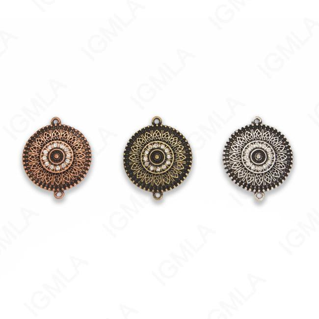 Medium Zinc Alloy 2Hole Gold, Silver, Copper Burnished Coin Connector