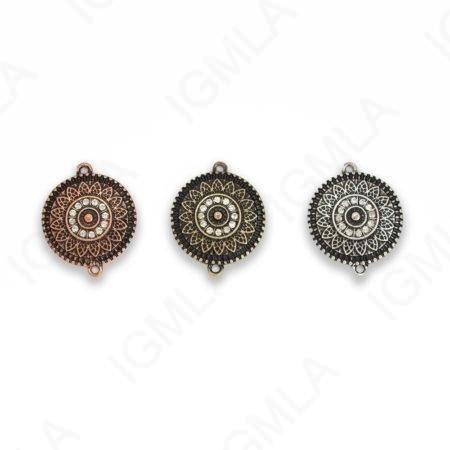 Small Zinc Alloy 3Hole Gold, Silver, Copper Burnished Coin Connector