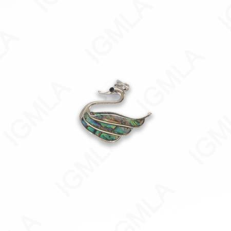 Zinc Alloy With Abalone Abalone Silver Plated Swan Pendants