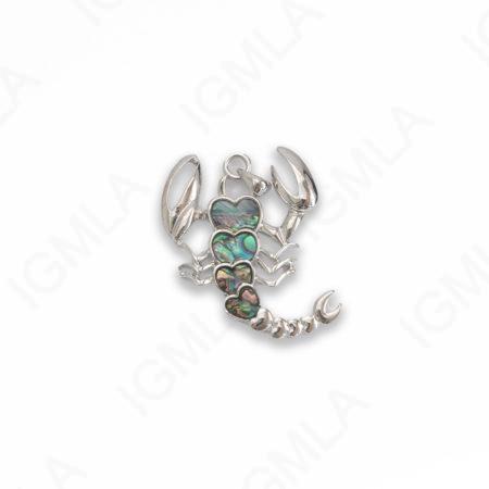 Zinc Alloy With Abalone Abalone Silver Plated Scorpion Pendants