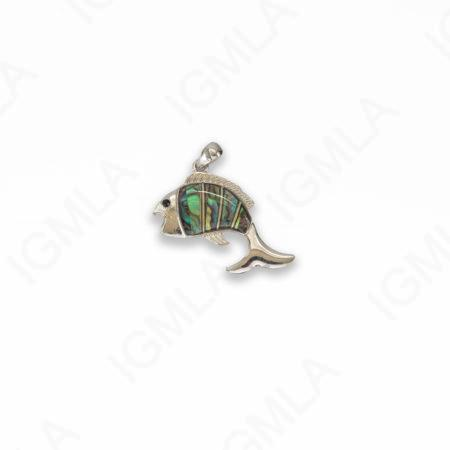 Zinc Alloy With Abalone Abalone Silver Plated Fish Pendants