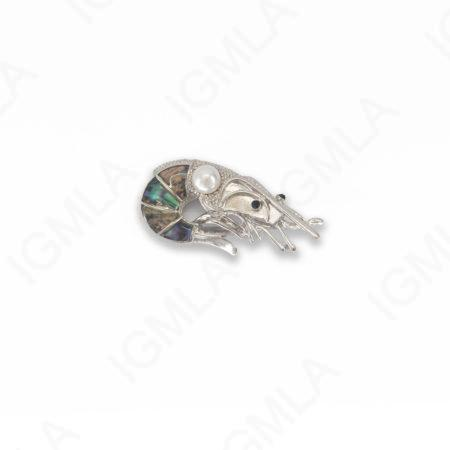 Zinc Alloy With Abalone Abalone Silver Plated Shrimp Pendants