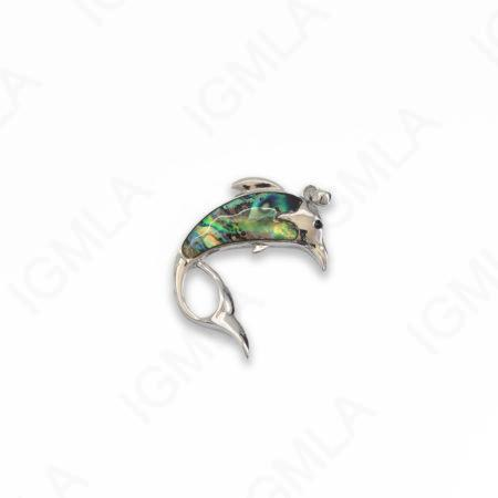 Zinc Alloy With Abalone Abalone Silver Plated Dolphin Pendants