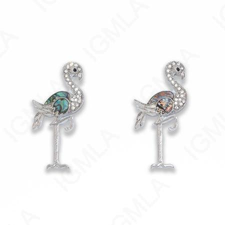 Zinc Alloy With Abalone Abalone Silver Plated Flamingo Pendants