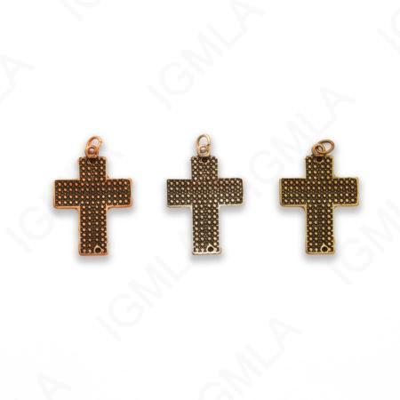 Zinc Alloy Gold, Silver, Copper Burnished Cross Pendants