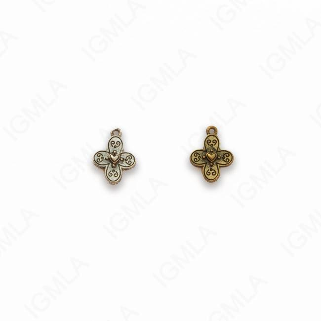 Gold, Silver Zinc Alloy Gold, Silver Burnished Cross Charm