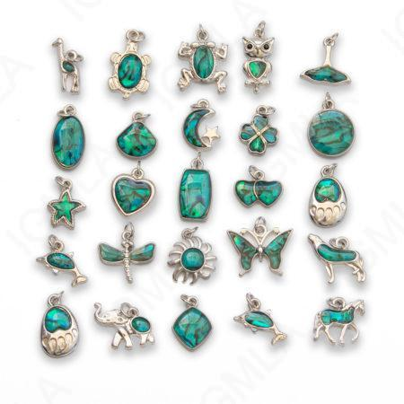 Zinc Alloy Paua Shell w O-Rings Rhodium 25 Styles in each bag 4 pc color Assorted Charms Blue