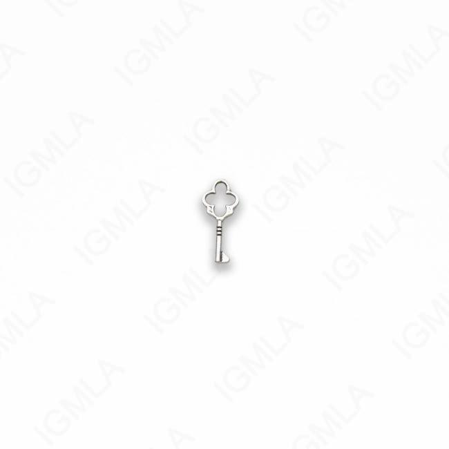 Small Zinc Alloy Antique Silver Key Charm