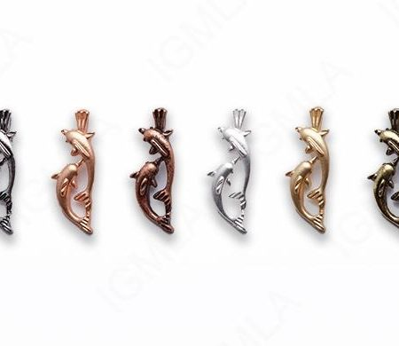 Small Zinc Alloy Matt Rose, Gold, Silver, Gold Plated, Burnish Gold, Silver, Copper Double Dolphin Charm