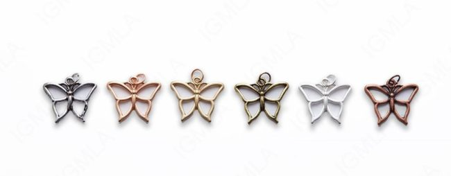 Small Zinc Alloy Matt Rose, Gold, Silver, Gold Plated, Burnish Gold, Silver, Copper Butterfly Charm