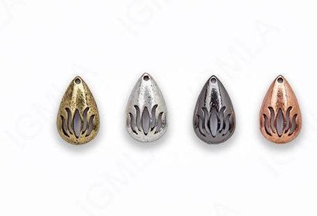 Small Zinc Alloy Burnish Silver, Copper, Gold, Gun Metal Drop Charm