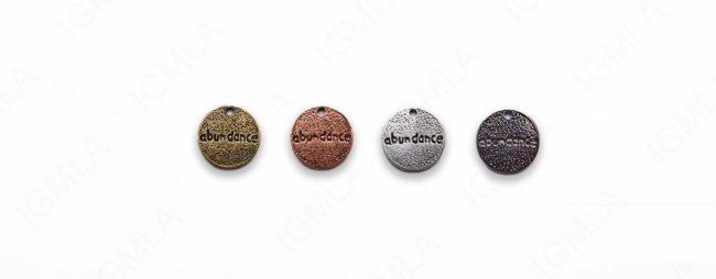 Small Zinc Alloy Burnish silver, Copper, Gold, Gun Metal Abundance Charm