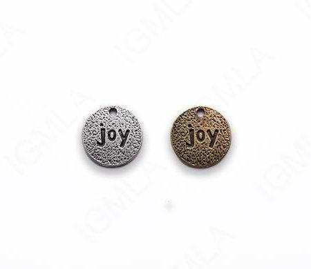Small Zinc Alloy Burnish Silver, Gold Joy Coin Charm