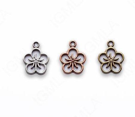 Small Zinc Alloy Burnish Gold, Copper Flower Charm