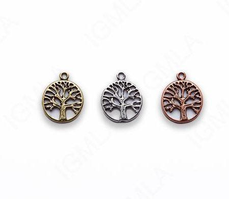Small Zinc Alloy Burnish Copper, Gold Tree Pendants