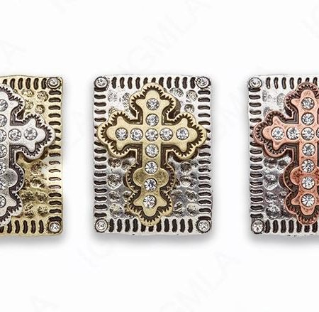 Zinc Alloy Gold on Silver, on Gold, Copper on Silver Cross w Rhinestones Rectangle Connector