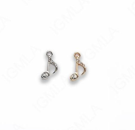 Small Zinc Alloy Gold, Silver Plated w Rhinestones Music Note Charm
