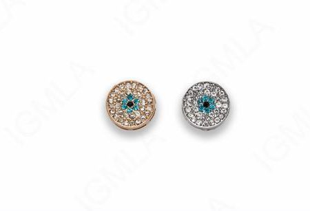 Zinc Alloy Gold, Rhodium Plated w Rhinestones Round Connector