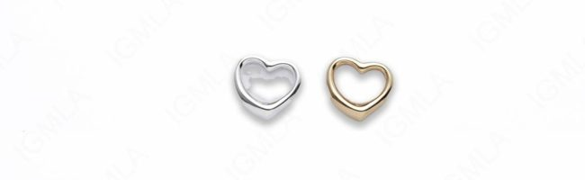 Zinc Alloy Gold, Silver Plated Heart Charm