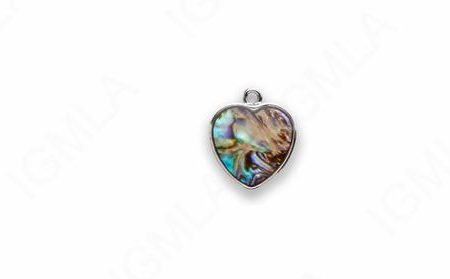Small Zinc Alloy With Abalone Silver Plated Heart Charm
