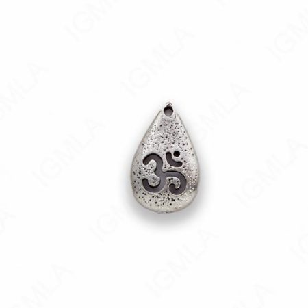 Small Zinc Alloy Silver Burnish Drop Charm