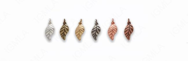 Small Zinc Alloy Matt Rose Gold, Silver, Gold, Burnish Silver, Gold, Copper Leaf Charm