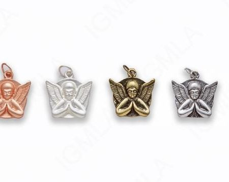 Small Zinc Alloy Matt Rose Gold, Silver, Gold, Burnish Silver, Gold, Copper Angel Charm