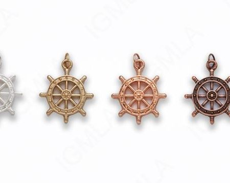 Small Zinc Alloy Matt Rose Gold, Silver, Gold, Burnish Copper Helm Charm