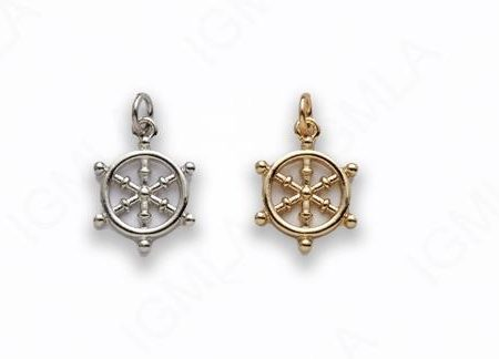 Small Zinc Alloy Gold, Rhodium Plated Wheel Charm