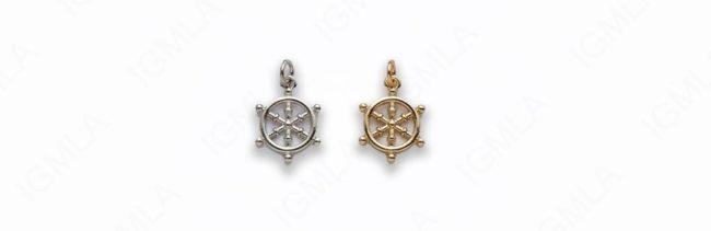 Small Zinc Alloy Gold, Rhodium Plated Wheel Charm