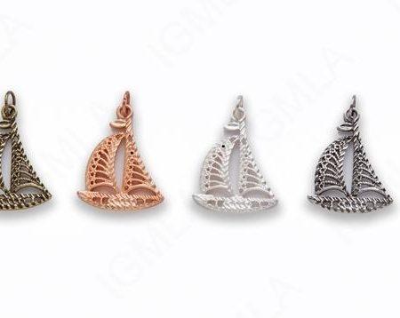 Zinc Alloy Matt Rose Gold, Silver Copper, Burnish Silver, Gold, Copper Sail Boat Charm