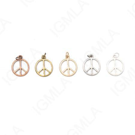Small Zinc Alloy Matt Rose Gold, Silver, Gold, Burnish Silver, Gold, Copper Peace Circle Charm