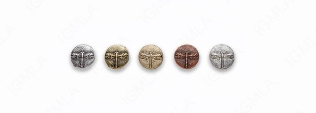 Small Zinc Alloy Finding Matt Ant Silver, Ant Gold, Burnish Gold, Silver, Copper Dragon Fly Coin Charm