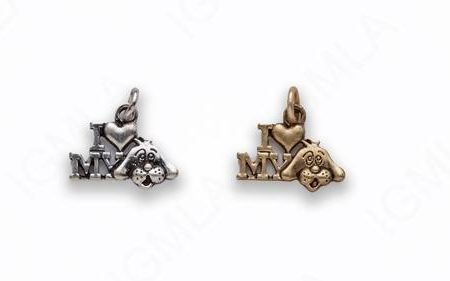 Small Zinc Alloy Matt Ant Gold, Burnish Silver I love my Dog Charm