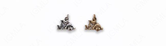 Small Zinc Alloy Matt Ant Gold, Burnish Silver I love my Dog Charm